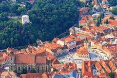 老镇的鸟瞰图,布拉索夫 免版税库存图片