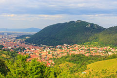 老镇的鸟瞰图,布拉索夫 免版税图库摄影