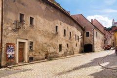 老镇街道在布拉索夫 免版税库存照片