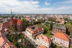 老镇都市风景全景,弗罗茨瓦夫,波兰 库存照片