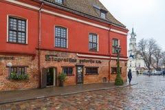 老镇都市风景在考纳斯立陶宛 库存照片