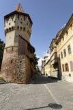 老镇锡比乌罗马尼亚Cetatii街 库存照片