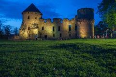 老镇,城市,城堡公园在Cesis,拉脱维亚 2014年 免版税库存照片