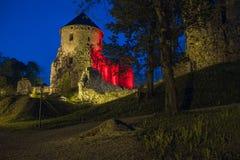 老镇,城市,城堡公园在Cesis,拉脱维亚 2014年 免版税图库摄影