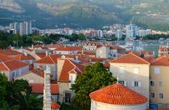 老镇,布德瓦,黑山顶视图  免版税库存照片