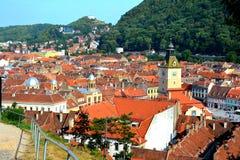 老镇,布拉索夫, Transilvania的中心 免版税库存照片