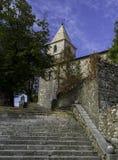 老镇, Grobnik,克罗地亚的段 免版税库存照片
