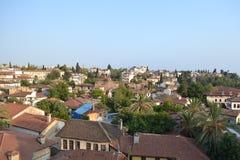 老镇Antalia视图,老镇屋顶 免版税库存图片