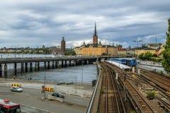 老镇Gamla斯坦的看法在斯德哥尔摩 瑞典 免版税图库摄影