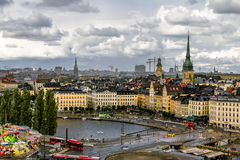 老镇Gamla斯坦的看法在斯德哥尔摩 瑞典 免版税库存照片