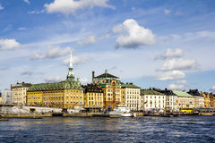 老镇Gamla斯坦的看法在斯德哥尔摩 瑞典 库存图片