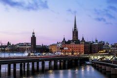 老镇Gamla斯坦的看法在斯德哥尔摩 瑞典 免版税库存图片