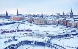 从老镇Gamla斯坦的观测台的冬天全景在斯德哥尔摩,瑞典 库存图片