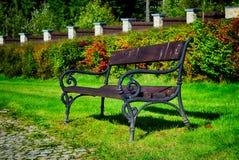 老长凳在公园 库存图片