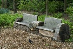 老长木凳由树干和黑鹂在庭院前面,公园制成 免版税库存图片