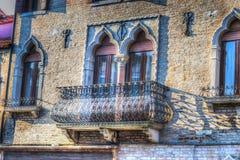 老阳台在威尼斯 免版税库存图片