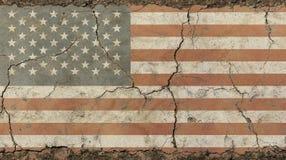 老难看的东西葡萄酒退了色美国美国旗子 图库摄影