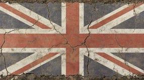 老难看的东西葡萄酒退了色英国大英国旗子 免版税库存照片