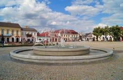 老集市广场和喷泉在Lowicz,波兰 免版税库存图片