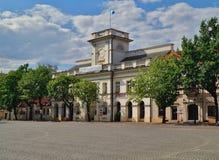 老集市广场在Lowicz,波兰 库存图片