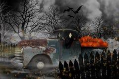 老雪佛兰卡车的万圣夜食尸鬼 图库摄影