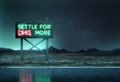 老霓虹灯广告在晚上 免版税库存照片