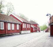 老青苔挪威村庄木镇  免版税图库摄影