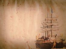 老风帆船grunge纸张纹理 库存图片