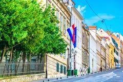 老风景街道在萨格勒布镇,克罗地亚 免版税库存图片