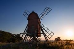 老风车在瑞典 图库摄影