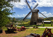 老风车(糖厂)在摩根刘易斯,巴巴多斯 库存图片