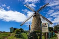 老风车(糖厂)在摩根刘易斯,巴巴多斯 库存照片