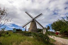 老风车(糖厂)在摩根刘易斯,巴巴多斯 免版税库存图片