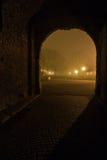 老鹅卵石道路穿过在Kalemegdan公园里面的门在雾报道的晚上,贝尔格莱德 库存图片