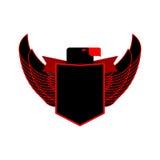 老鹰和盾纹章学象征 与翼商标的黑猎鹰 库存图片