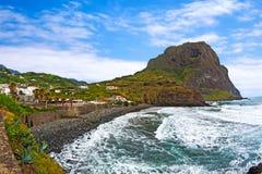 老鹰岩石, Penha de Aguia,马德拉岛 库存照片