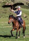 老鹰猎人在马背上拿着他的老鹰,准备采取飞行 库存图片