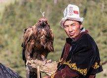 老鹰猎人在马背上拿着他的老鹰 库存图片