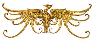 老鹰象征金黄纹章学符号 库存图片