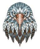 老鹰顶头zentangle传统化了,导航,例证,徒手画的pe 免版税库存图片