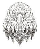 老鹰顶头zentangle传统化了,导航,例证,徒手画 免版税库存图片