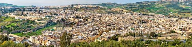 老麦地那全景在Fes,摩洛哥,非洲 图库摄影