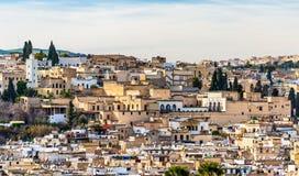老麦地那全景在Fes,摩洛哥,非洲 库存照片