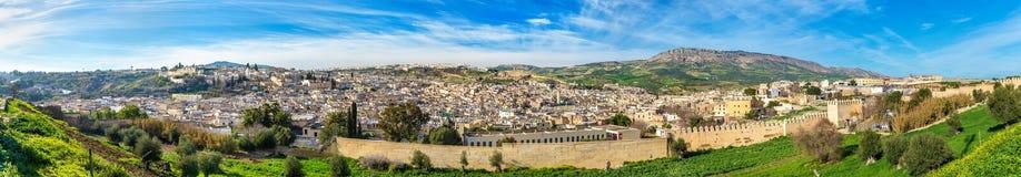 老麦地那全景在Fes,摩洛哥,非洲 库存图片