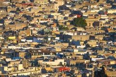 老麦地那鸟瞰图在Fes摩洛哥 库存照片