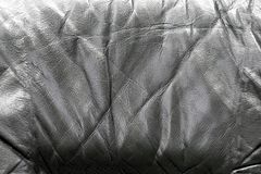 老黑皮革背景纹理 免版税库存照片