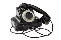 老黑色葡萄酒转台式样式电话 库存图片
