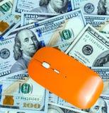 老鼠个人计算机在美元背景中 免版税库存照片