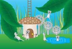 老鼠和蘑菇动画片 免版税库存照片