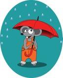老鼠在与伞-例证, eps的雨秋天 免版税库存图片